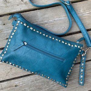 Handbags - Turquoise/teal studded shoulder bag